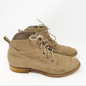 Sam Edelman Tan Leather Lace Up Ankle Boots Size 8